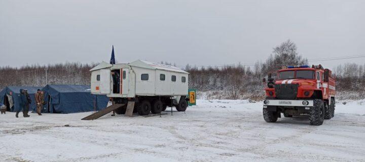 На трассе М8 в Ярославской области развернули мобильный пункт обогрева
